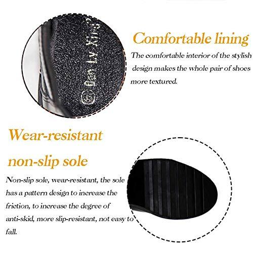 Tacchi e Cintura con fibbia di Stivali Inverno Piattaforma rivetti impermeabile spessore neri Autunno Martin fwBnxq7Tn