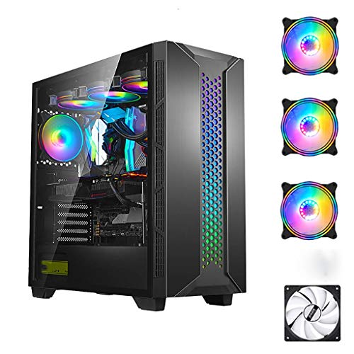Gaming Computer PC Case For Desktop Computer PC Gaming desktop computer case, side transparent RGB game case, water-cooled MATX-EATX large case, silent case, office back line slab, full side transpare