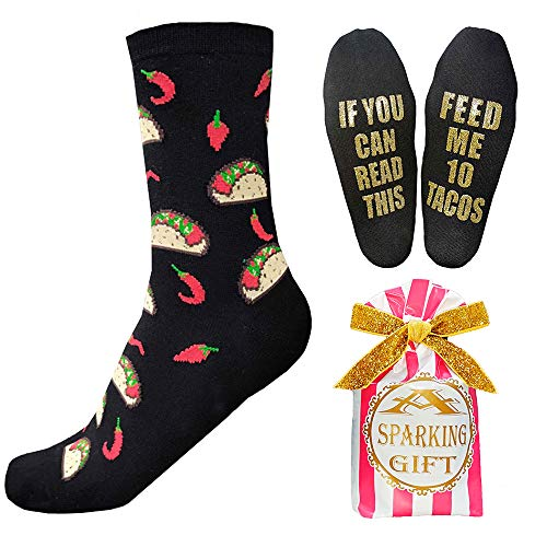 Tacos Wine Beer Socks If You Can Read This Golden Print Happy Socks Novelty Funny Gift For Men Women