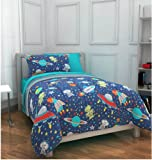 Space, Rockets, Planets, Aliens, Twin Comforter Set (5 Piece Bed In A Bag)