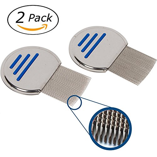 WJA 2 Lice Combs Stainless Steel Nits Round Comb Non-slip Handle Nit Free Terminator Remove Louse Flea Pet Dog Cat
