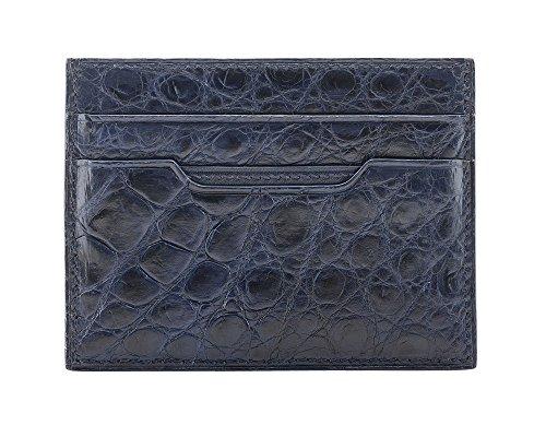 - Crocodile leather card case (Blue)