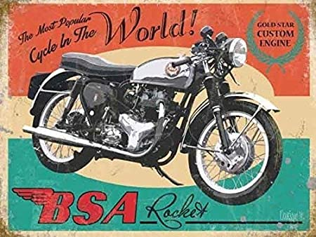 257938d24c2 British Motor Cycle Bike. The most popular cycle in the world! Gold star  engine. Large Metal/Steel Wall Sign: Amazon.co.uk: Kitchen & Home