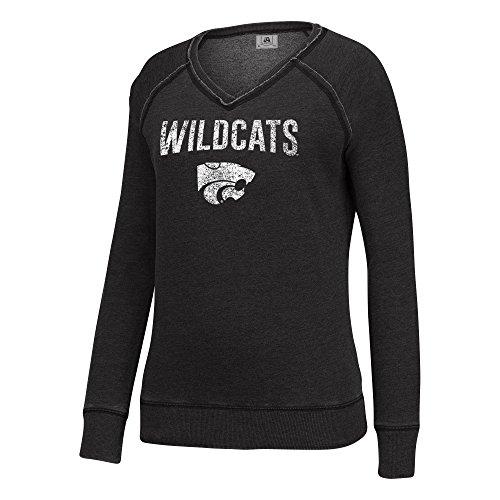J America NCAA Kansas State Wildcats Women's Achieve Fleece Crew Sweatshirt, Small, Black