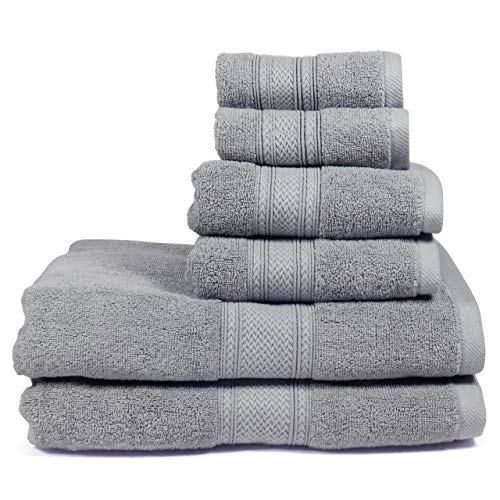 Celeste Luxury 6-Piece Cotton Towel Set | Plush, Absorbent, Quick-Drying | Embellished Chevron Border and Bright Colors Perfect for Decorative Gift Towel Set (Dark Gray)