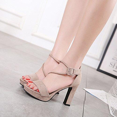 Heels Confort Verano pour Correa Impermeable mujer Zapatos High HGTYU Cruz five Zapatos de Pescado Discotecas Thirty Ultra nbsp;10Cm Chaussures Con Alta femmes tqwzH