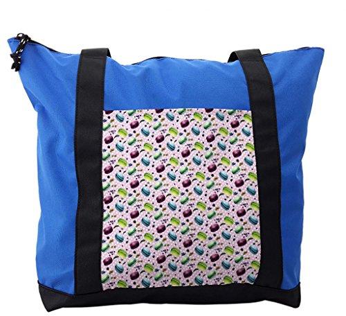 Pistachio Diaper Bag - Lunarable Kitchen Shoulder Bag, Blueberry Pistachio Macaron, Durable with Zipper