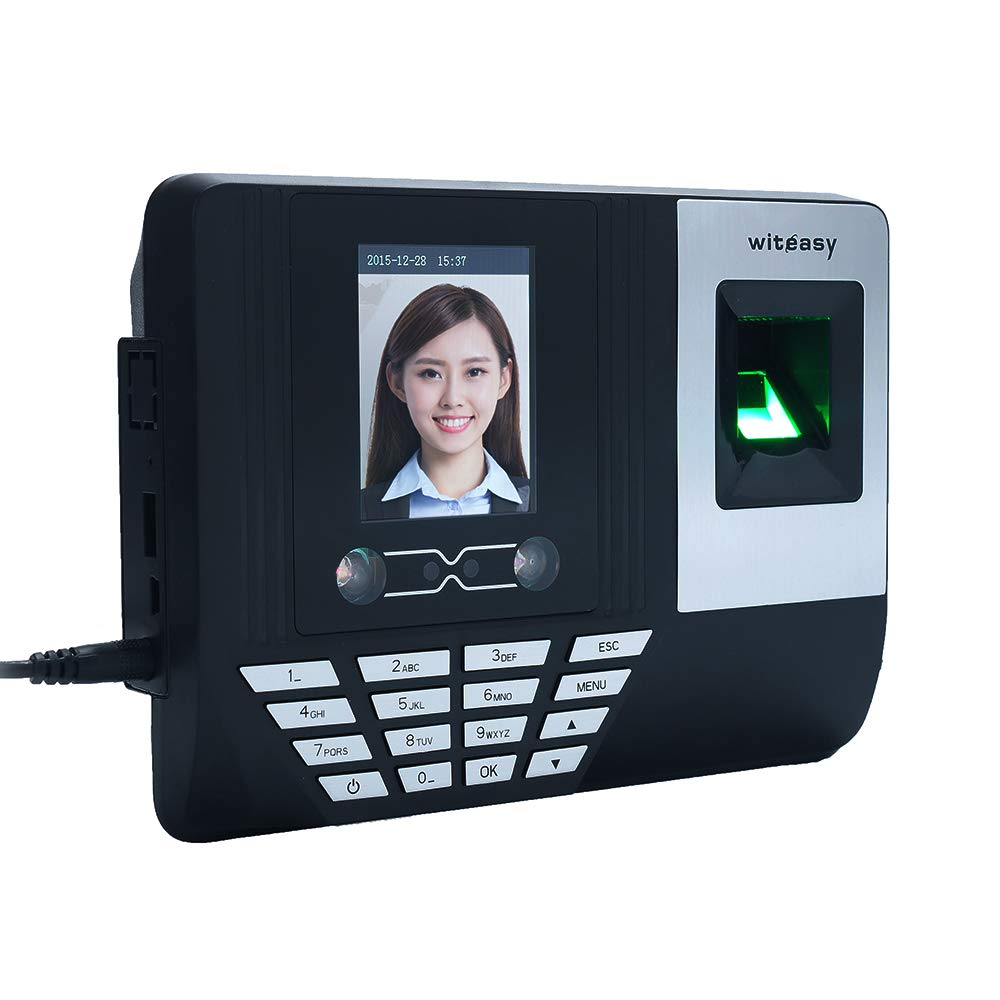 Aibecy Face Fingerprint Password Attendance Machine Employee Checking-in Payroll Recorder 2.8 inch LCD Screen DC 5V Facial Recognition Time Attendance Clock (A) by Aibecy
