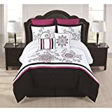 8pc California King Light Pink Camo Comforter Set, pink white, Modern Pattern Master Bedrooms, Fancy Luxury Bedding, Flower Embroidery, French Country, Vibrant black