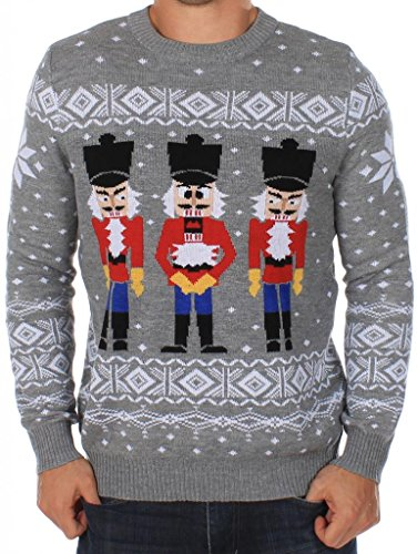 Men's Ugly Christmas Sweater - The Nut Cracker Funny Sweater Grey Size M Christmas Mens Fashion