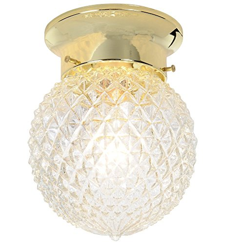 Royal Cove 671506  Diamond Cut Glass Ceiling Fixture, Polished Brass, 6 In.