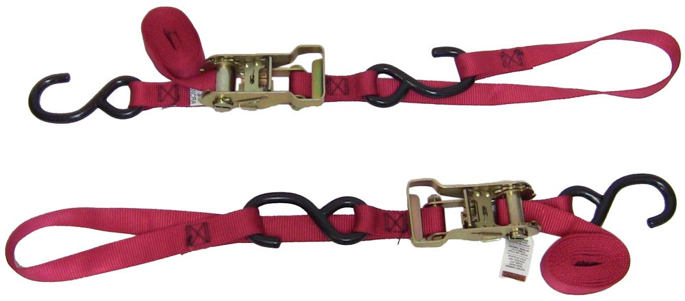 Ancra 49498-10 Red 1'' x 69'' Ratcheting Buckle Tiedowns with Integrated Soft Hooks by Ancra (Image #1)