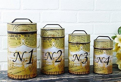 Typography Food Safe Tin Canister Set Rustic Vintage Newspri
