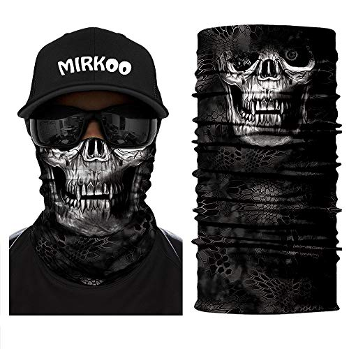 MIRKOO 3D Premium Breathable Seamless Tube Skull Half Face Mask, Windproof Dust-proof UV Protection Bicycle Bike Motorcycle Face Mask for Cycling Hiking Camping Climbing Fishing Motorcycling (SFM-972) -