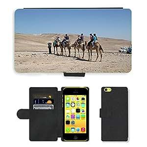 GoGoMobile Flip PU Leather Wallet Case with Credit Card Slots // M00118433 Camels Safari Desert Travel Animal // Apple iPhone 5C
