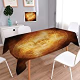 Anmaseven Horror House Oblong Dinning Tabletop Decor Demon Trap Symbol Logo Ceremony Creepy Scary Ritual Fantasy Paranormal Design Table Cover for Kitchen Orange Size: W70 x L120
