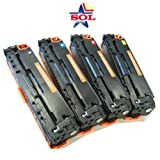 4 Pack Non-OEM Toner Cartridges for HP Color LaserJet CP1215 CP1515n CP1518ni CM1312nfi CM1312 MFP CB540A CB541A CB542A CB543A, Office Central