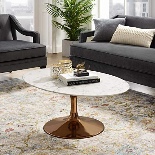 Modway Lippa Mid-Century Modern 42″ Oval Artificial Marble Coffee Table