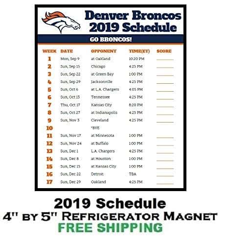 Denver Broncos Schedule: Amazon.com: Denver Broncos NFL Football 2019 Schedule And