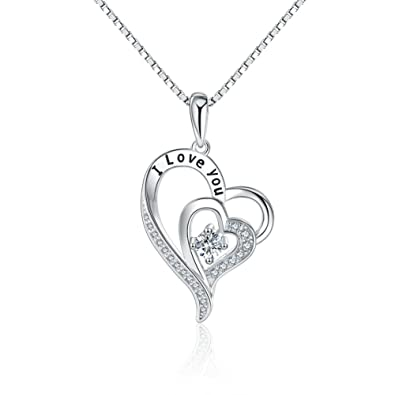 LiLoing Jewelry For Women And Mom,Love Heart Pendant Necklaces For Women, Valentines Day