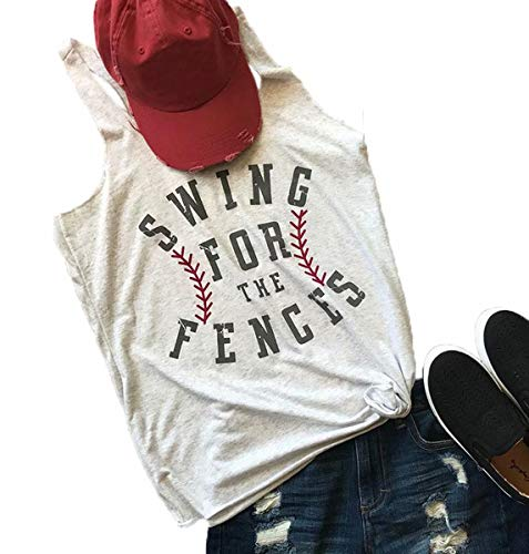 (Swing for The Fences Racerback Tank Top Baseball Graphic Printed Tee Women Summer Sleeveless Casual Shirt Size M (Light)