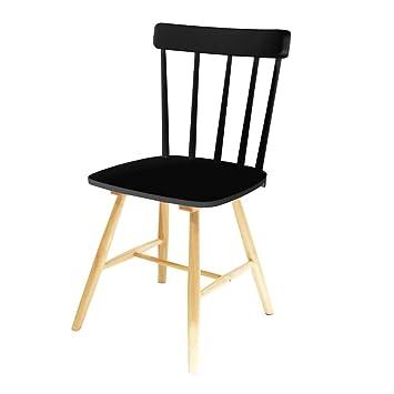 The Concept Factory Chaise Bistrot En Bois Noir Amazon Fr Cuisine
