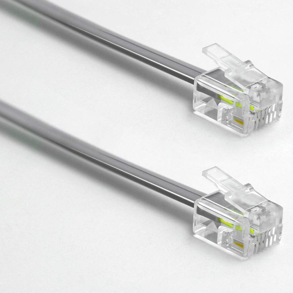 Short Telephone Cord 1 ft RJ11 6P4C Male to Male 2 Pack 1 foot