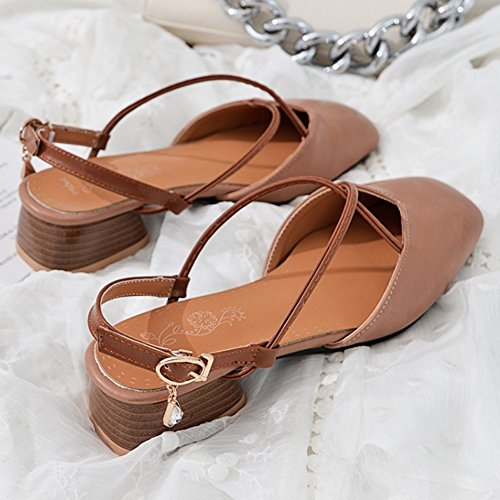 Low Sandals Heel Block pink Slingback Women Lotus TAOFFEN 1wqOxPZZ