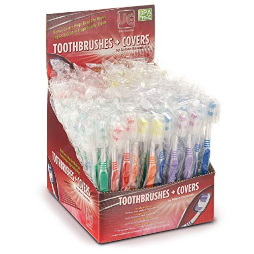 100 Bulk toothbrushes Individually Wrapped Medium Bristle Full Head Oral-Care Manual Multi-Pack Toothbrush Sets with…
