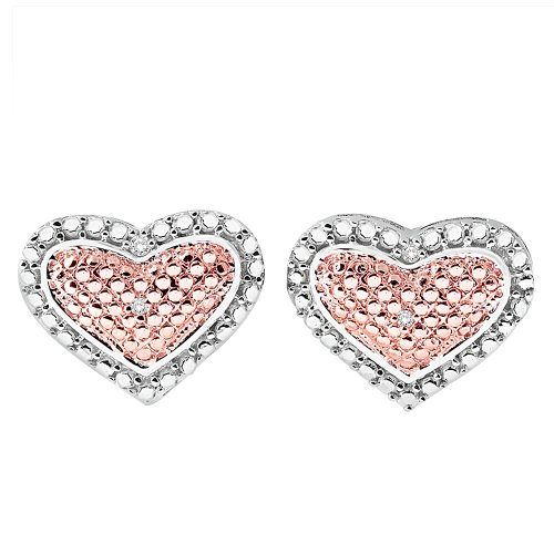 Two Tone Heart Diamond Earrings in Sterling Silver
