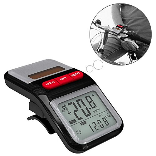 1Pc Multifunction LCD Solar Power Bicycle Bike Speedometer Pedometer Odometer Cycling Computer
