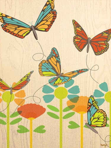 Oopsy Daisy Flutterfly by Molly Bernarding Canvas Wall Art, 18 by 24-Inch Flutterflies Wall
