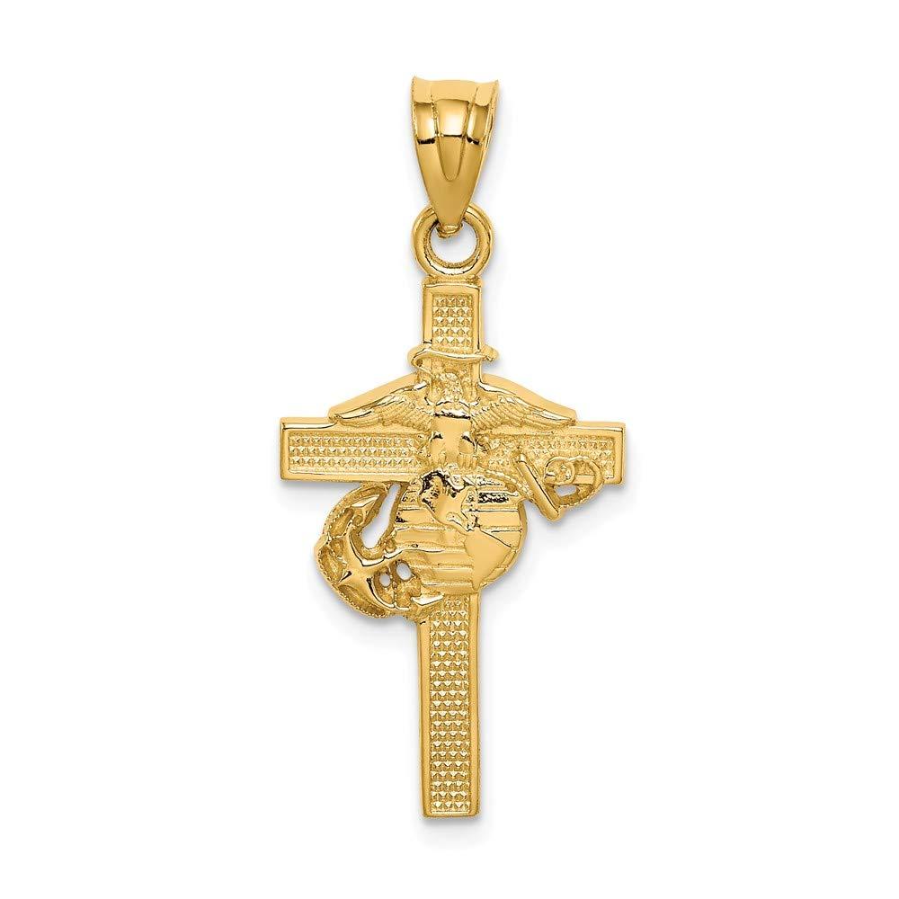 Mia Diamonds 14k Solid Yellow Gold Marine Corps Cross Pendant 34mm