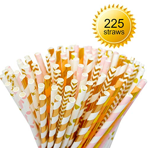 225-Pack Pink/Gold Biodegradable Paper Straws - 9 Different Patterns Pink Straws/Gold Straws for Party, Birthday, Wedding, Bridal Shower, Baby Shower Supplies and Decorations (225, Pink & Gold) ()