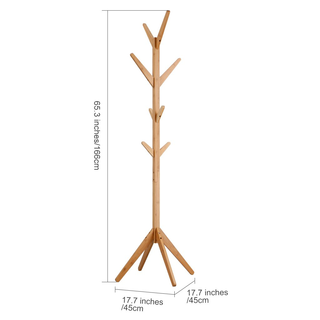 LANGRIA Coat Hook Bamboo Wooden Coat Rack and Hook Rack with 4 Tiers 8 Hooks and Solid Feet Hall Tree Coat Rack for Clothes Scarves and Hats, Bamboo Natural Color