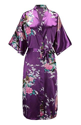 EPLAZA Women Peacock Satin Long Bridal Kimono Robe Bridesmaid Sleepwear Wedding Dressing Gown (Purple, 1)