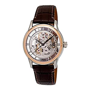 Oris 01 734 7684 6351-07 5 21 70FC Men's Watch Artelier Translucent Skeleton 18K Rose Gold Bezel
