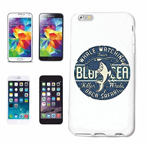 """cas de téléphone iPhone 6+ Plus """"BIG LOGO AVEC WHALE CACHALOT WHALE ÉPAULARD ORCA"""" Hard Case Cover Téléphone Covers Smart Cover pour Apple iPhone en blanc"""