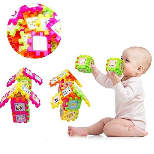 Plastic Puzzle Shape Blocks Play Set Builder Interlocking Toys for Kids Develop Intelligence (68 PCS)