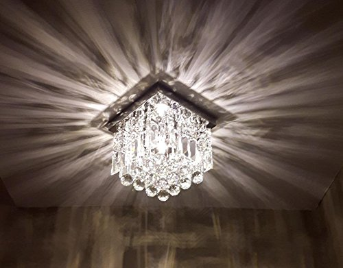 Moooni Hallway Crystal Chandelier 1 - Light W8'' Mini Modern Square Flush Mount Ceiling Light Fixture by Moooni (Image #3)