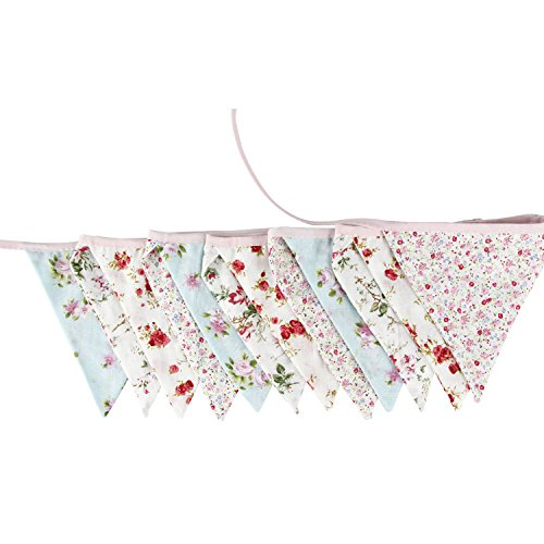 3.3M/10.8Ft Floral Lovely Flag Banner Pennant Flag Garlands Fabric Triangle Flag Double Sided Vintage Cloth Shabby Chic Decoration for Birthday Parties,Kitchen,Bedroom
