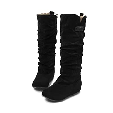 41c5a78a60e Image Unavailable. Image not available for. Color  YING LAN Women s Winter  Knee High Boots Casual Flat ...