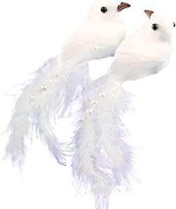 BeautyOL 12Pcs Simulation Artificial Feather Dove Bird Ornaments Craft for Wedding Home Desktop Decor