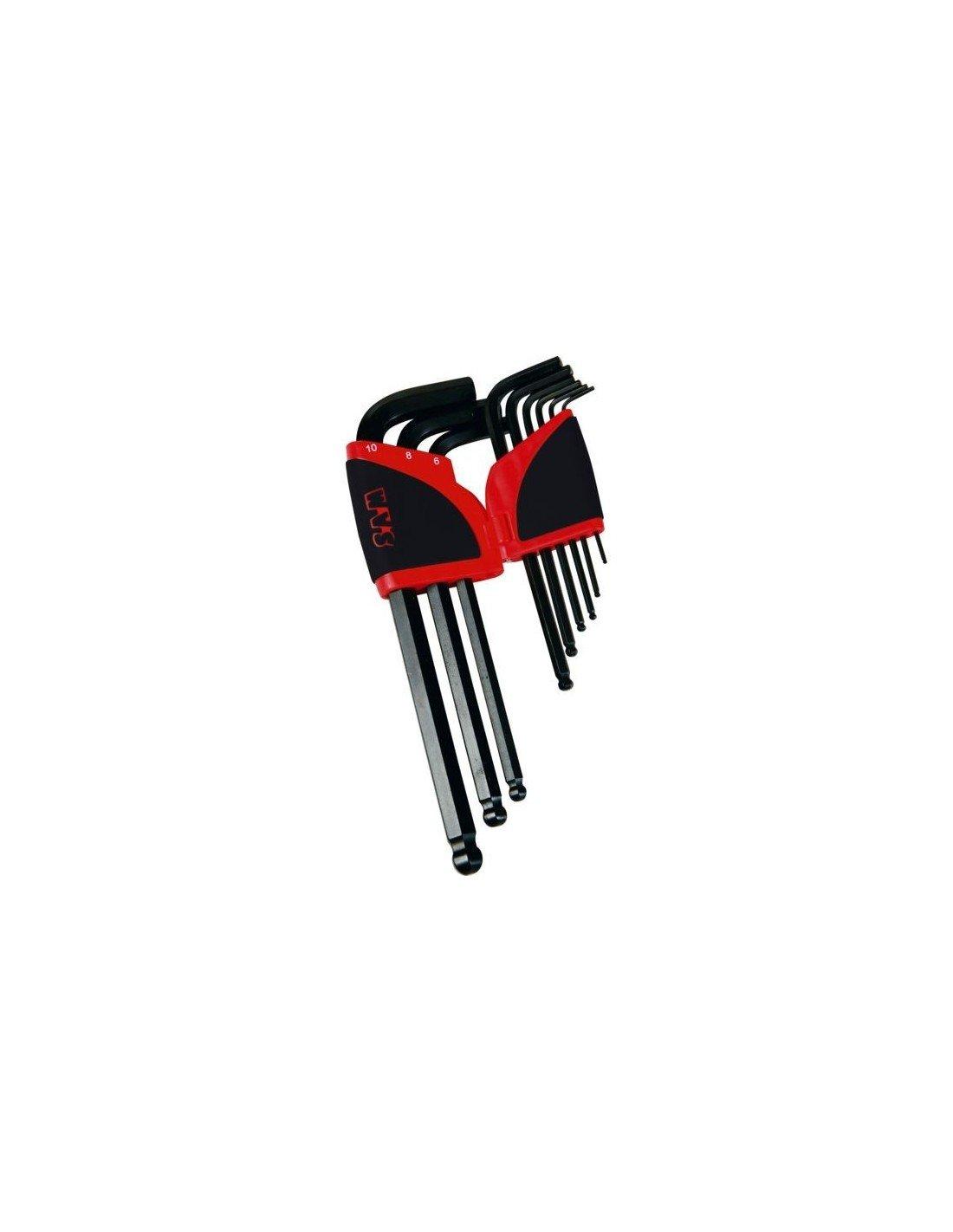 SAM Outillage 67-AR9A Râtelier de 9 clés males coudées longues 6 pans à tête sphérique de 1, 5 à 10 mm 5 à 10 mm