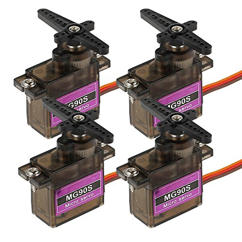 - AUTOUTLET 4pcs MG90S Metal Gear Micro Servo High Speed for RC Helicopter Car Boat Racing