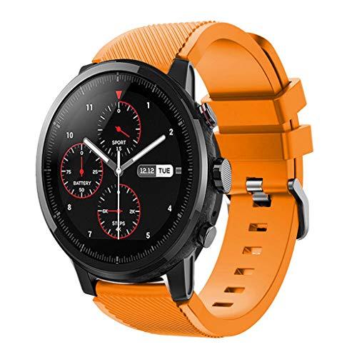 SHUDAGE HUAMI Amazfit Stratos 2 Watch Band, Sports Soft Silicone Breathable Adjustable Waterproof Straps Bracelet Wristbands for Women Men (orange)