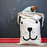 Dog Sleeping + Smiling Canvas Storage Bag Basket Organizers for Clothing, Drawstring Sack Bag, Books, Gift Baskets, Closet Storage, Organization Systems (2 Pcs)