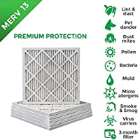 22x22x1 MERV 13 (MPR 2200) Pleated AC Furnace Air Filters. Box of 6