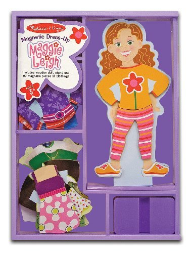Maggie Leigh - Magnetic Dress Up Wooden Doll & Stand + FREE Melissa & Doug Scratch Art Mini-Pad Bundle - Doll Dress Up Leigh Magnetic