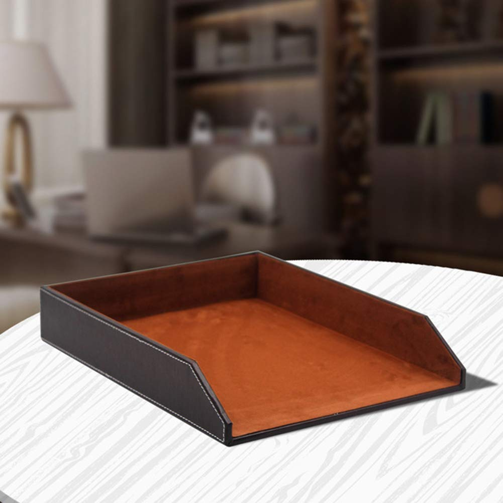 WJYLM Document Tray, Stackable Document Tray, A4 Paper, Office, Desk, Leather Letter Tray, Drawers Letter Tray Organizer, Office and School,Brown by WJYLM